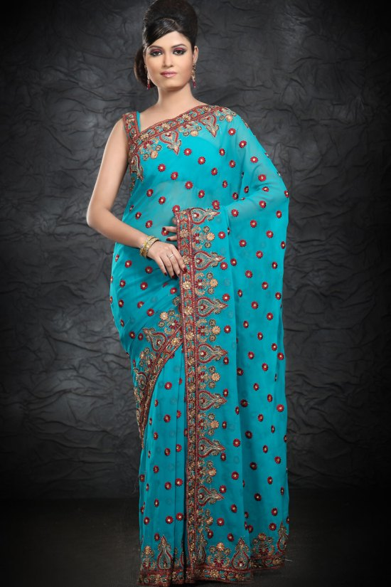 Latest Pure Georgette Embroidered Party Wear Saree