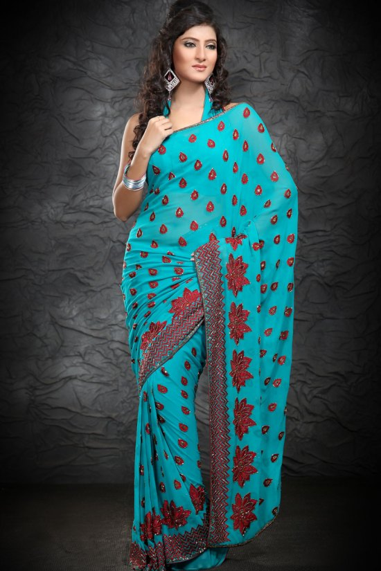 Exclusive Bondi Blue Party Wear Saree