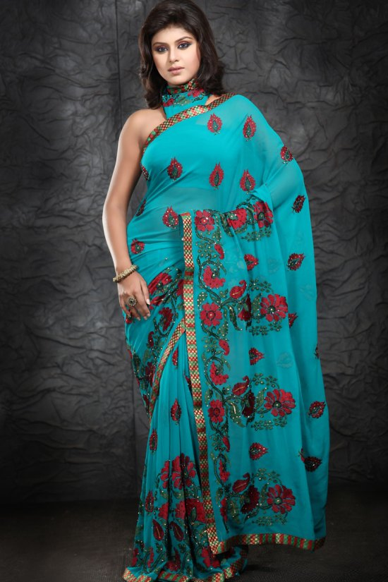 Latest Exclusive Faux Georgette Part Saree 2010
