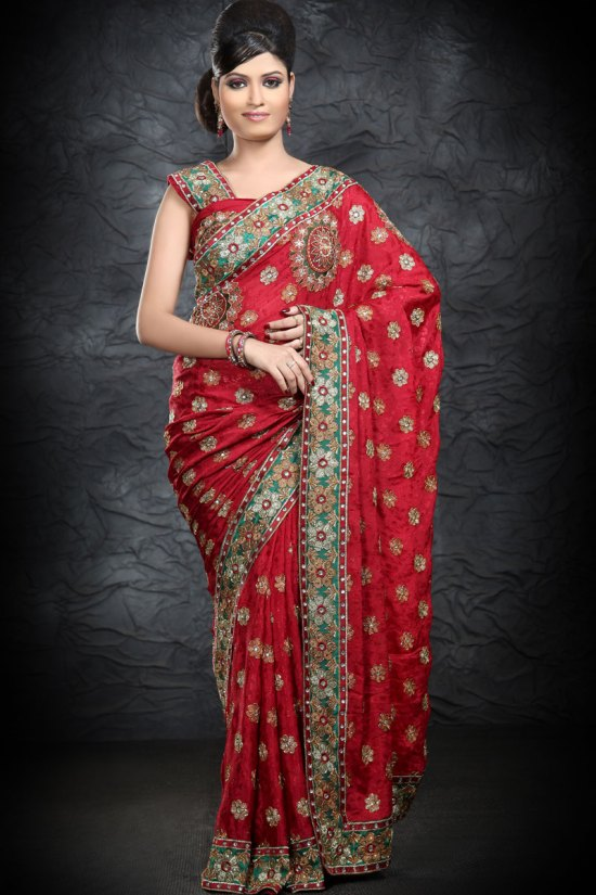 Latest Persian Red Georgette Saree Collection 2010