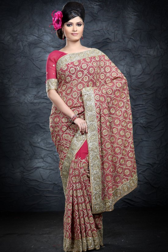 Newly Arrived Deep Pink Embroidered Party Saree 2010