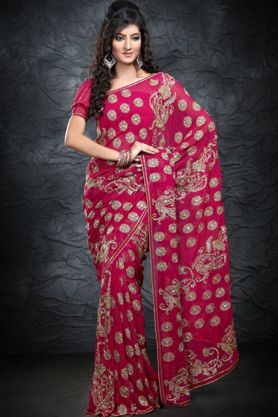 Magenta Georgette Saree Collection 2010