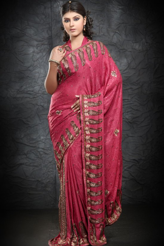 Exclusive Rose Pink Embroidered Part Wear Saree 2010