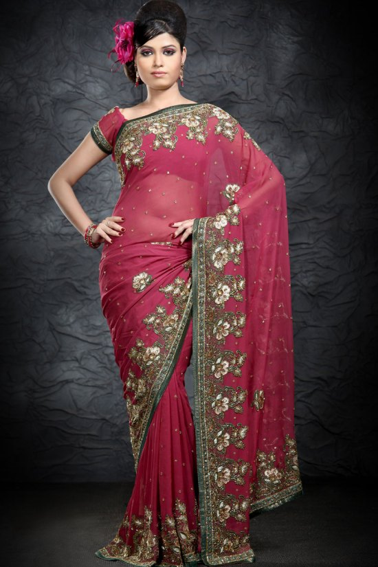 Latest Georgette Cerise Pink Embroidered Saree 2010