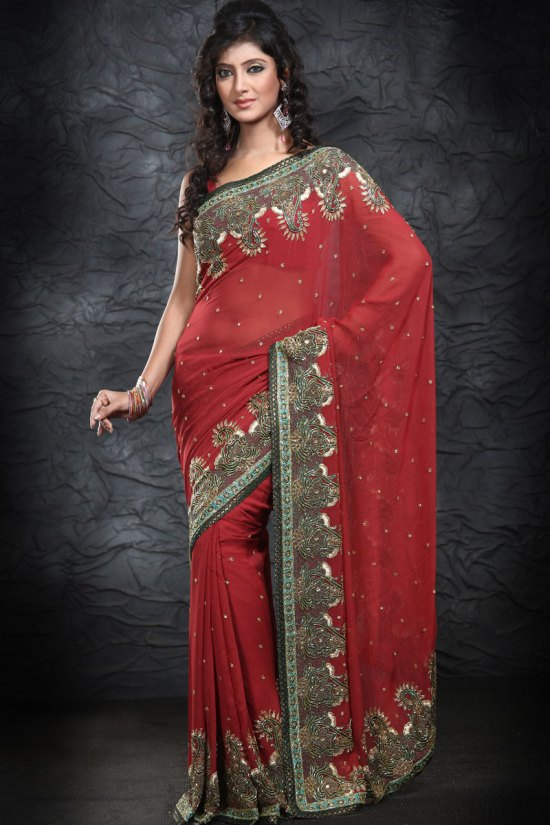 Latest Party Wear Saree in Red Color with Hand Embroidery Work