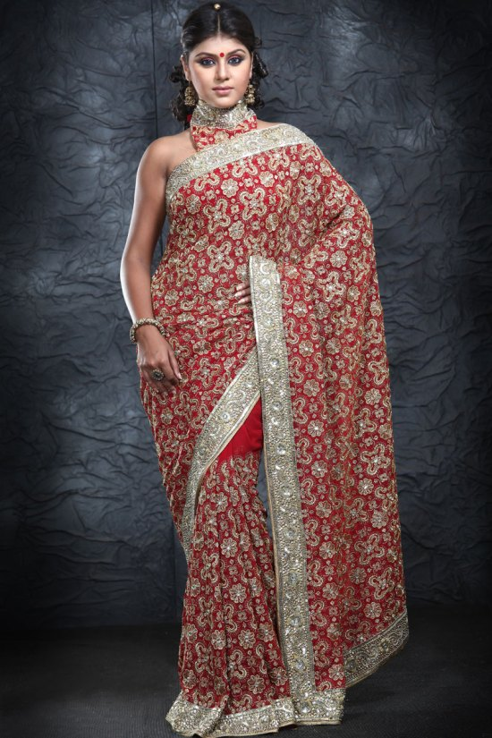 Latest Embroidered Red Georgette Party Wear Saree