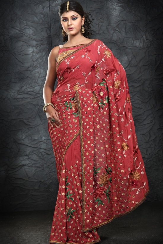 Latest Bright Red Saree with Embroidery Work