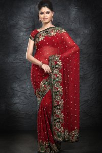 Newly Arrived Georgette Red Wedding Saree 2010