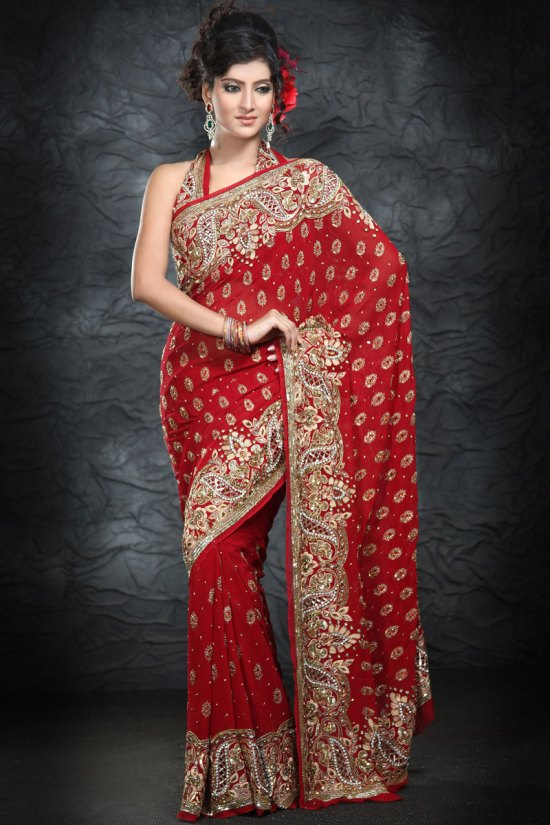 Latest Heavily Embroidered Designer Sarees 2010