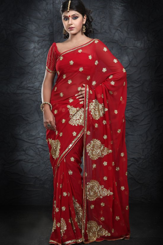 Pure Georgette Embroidered Wedding Sarees 2010
