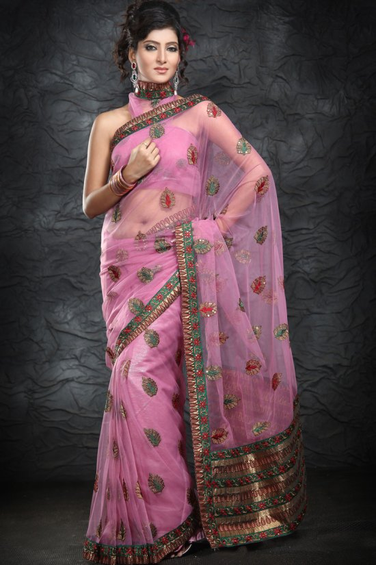 Latest Net Saree in Hot Pink Color with Embroidery Work