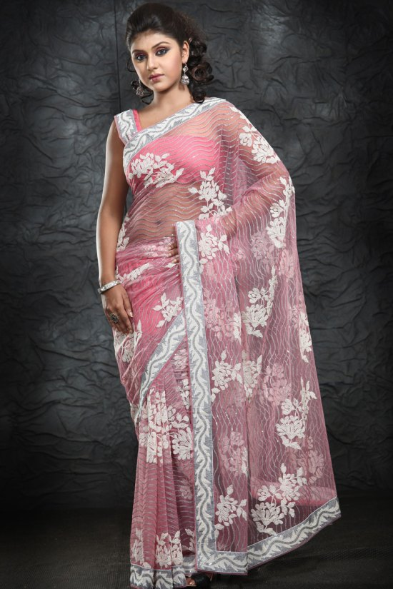 Net Pink Embroidered Party Wear Saree 2010