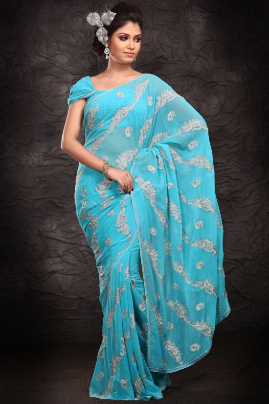 Sky Blue Embroidered Party Wear Saree 2010