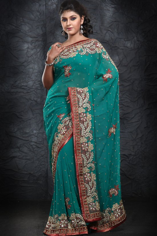 Latest Teal Georgette Party Wear Saree 2010