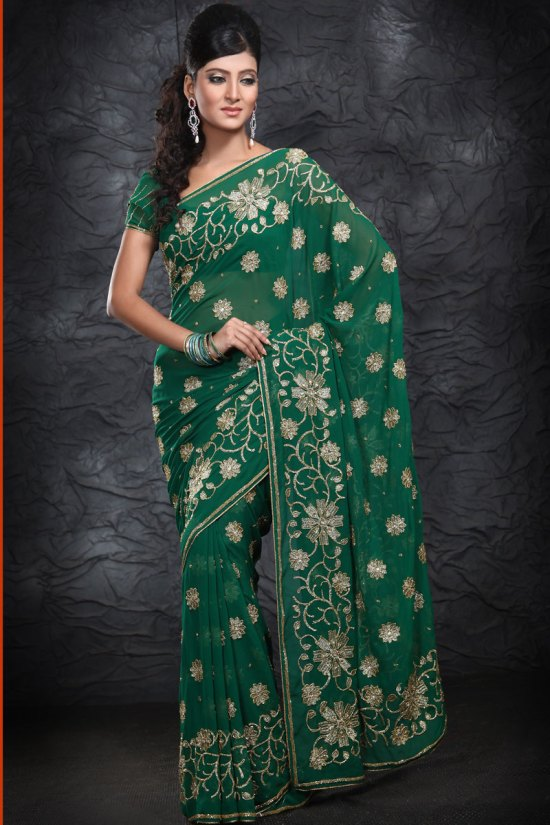 Bottle Green Embroidered Party Wear Saree 2010