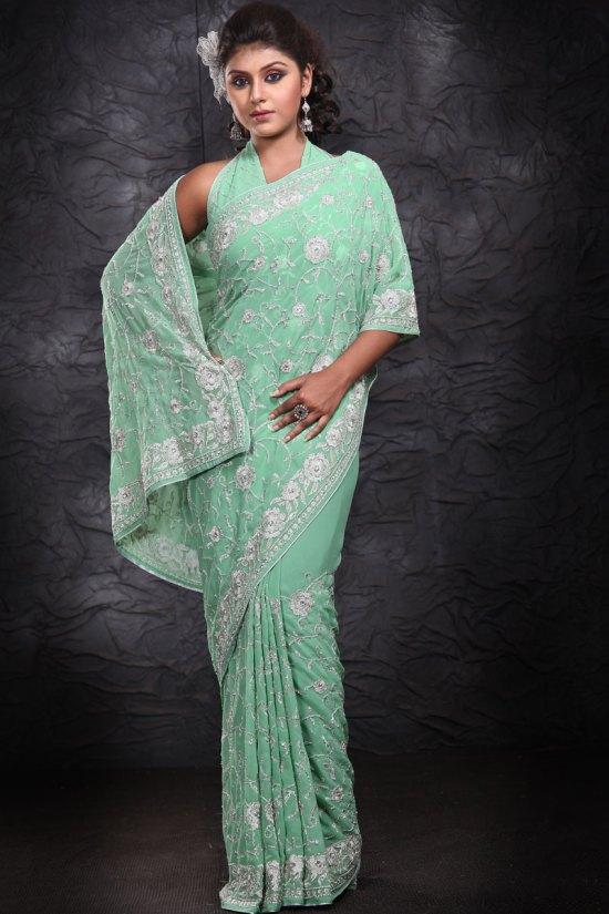 Georgette Embroidered Party Wear Saree in Moss Green Color