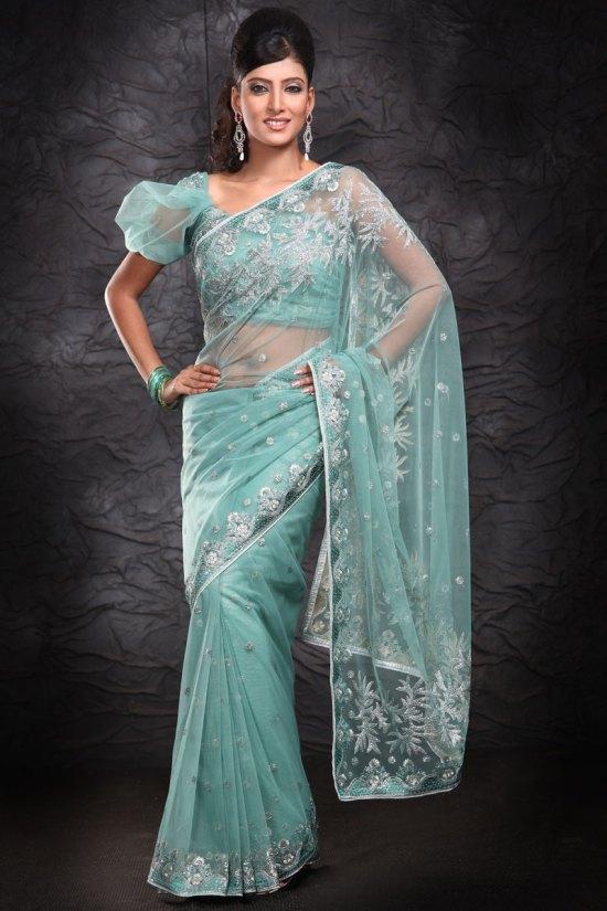 Latest Designer Saree in Cambridge Blue Color