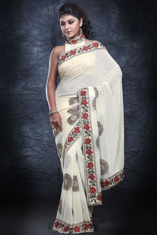 Latest Georgette Embroidered Party Saree in Cream White Color