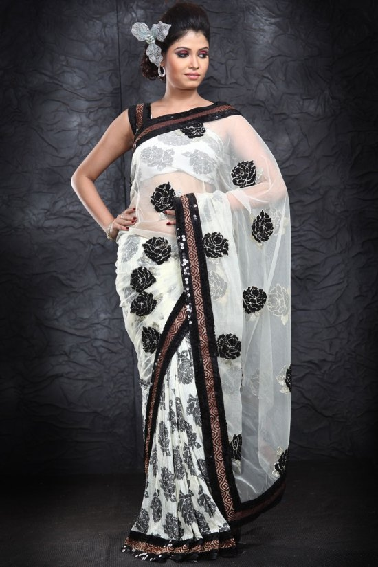 Latest Net White and Black Party Wear Saree
