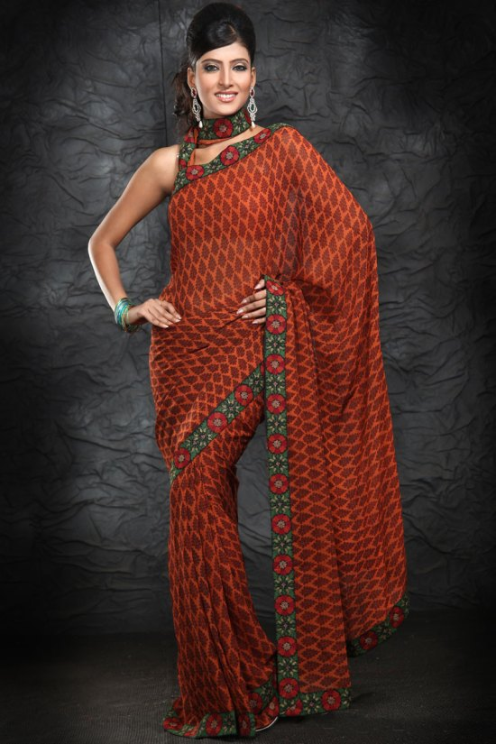 Latest Bronze Brown Saree with Embroidery Work