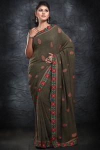 Newly Arrived Green Party Wear Saree 2010