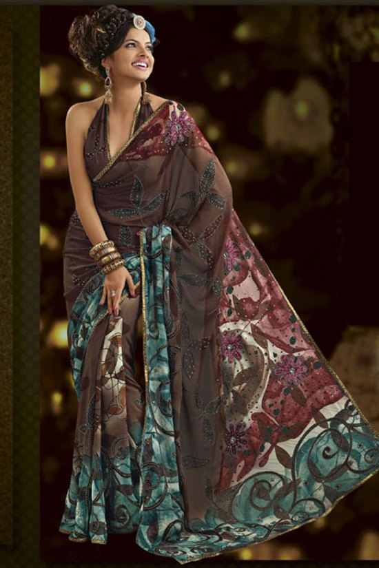 Brown Party wear Designer Saree