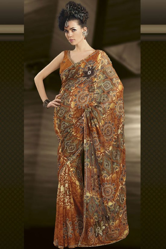 Festival and Party Wear Saree in Bronze Brown Color