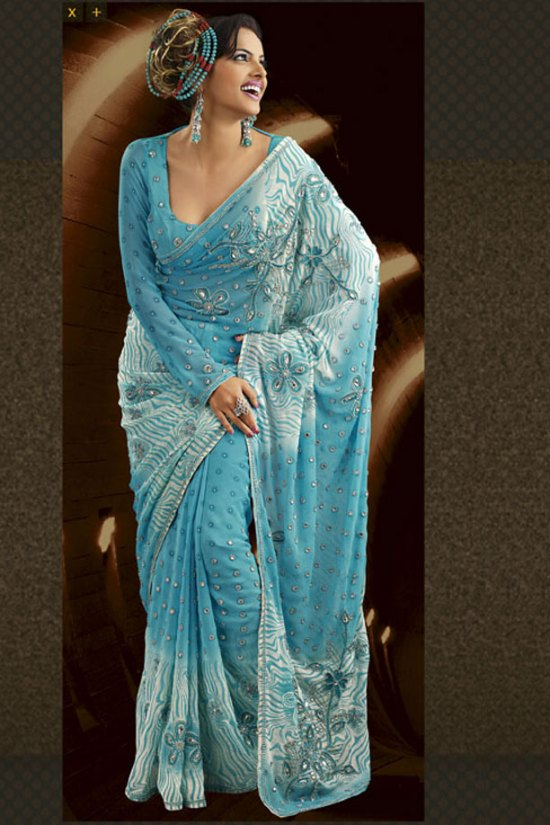 Light Blue Embroidered Designer Saree 2010