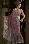 Pink and Olive Party Wear Designer Saree