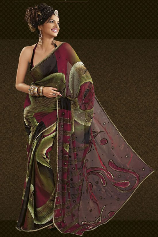Brown and Olive Green Printed and Embroidered Saree