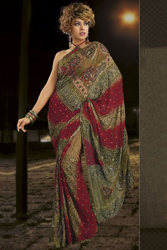 Multicolor Party Wear Saree in Faux Georgette Fabric