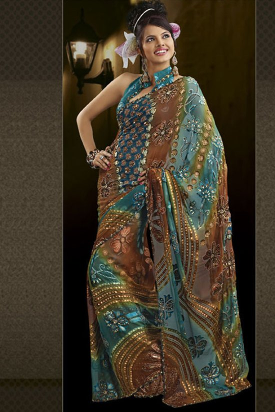 Printed and Embroidered Saree in Blue and Brown Color