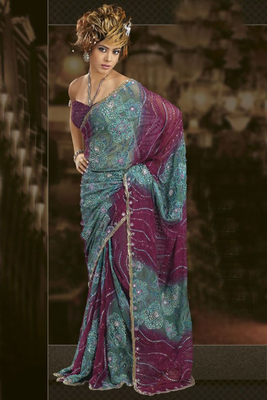 Festival Wear Saree in Purple and Blue Color