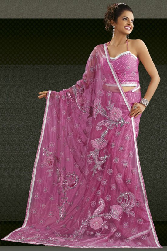 Light Pink Party Saree with Embroidery in Faux Georgette
