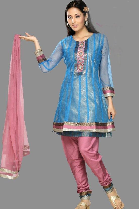 Sky Blue and Pink Unstitched Shalwar Kameez