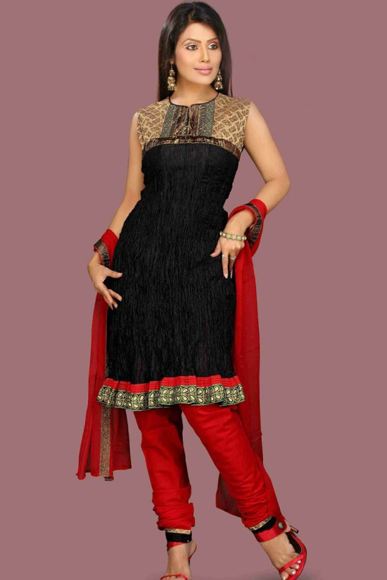 Black and Red Unstitched Salwar Suit Customizable till Size 42