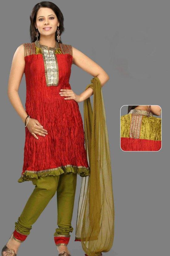Unstitched Churidar Salwar Kameez in Red and Olive Green Color