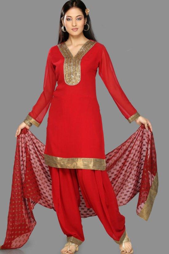 Red Unstitched Party Wear Shalwar Kameez