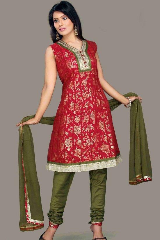 Unstitched Festival Wear Churidar Shalwar Kameez 2010