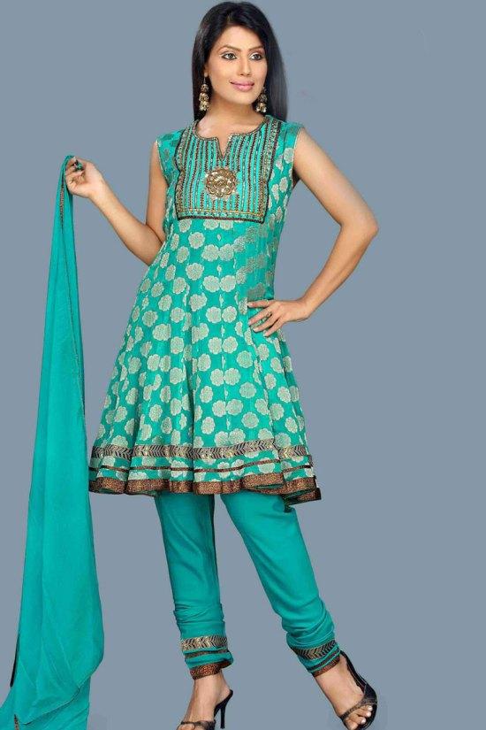 Unstitched Anarkali Style Shalwar kameez in Turquoise Blue Color
