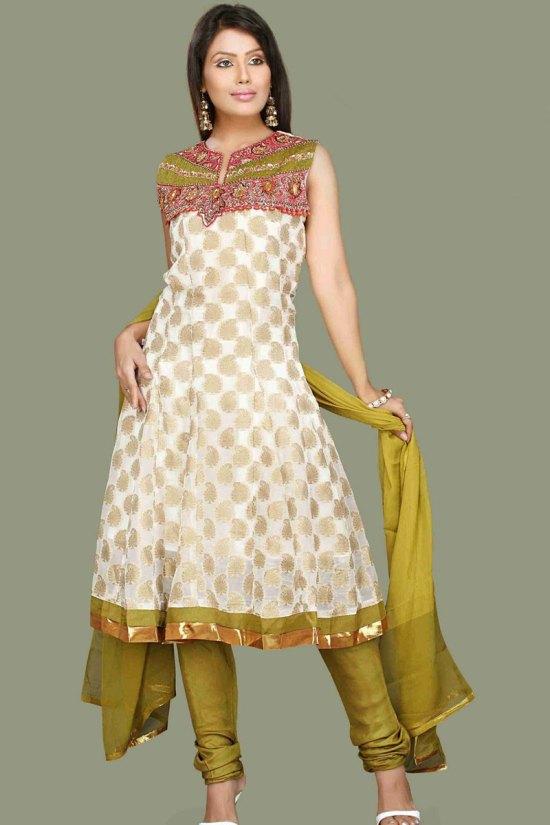 Latest Anarkali Style unstitched Churidar Salwar Suit 2010