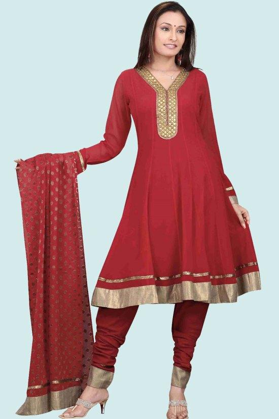 Unstitched Anarkali Shalwar Kameez in Red Color