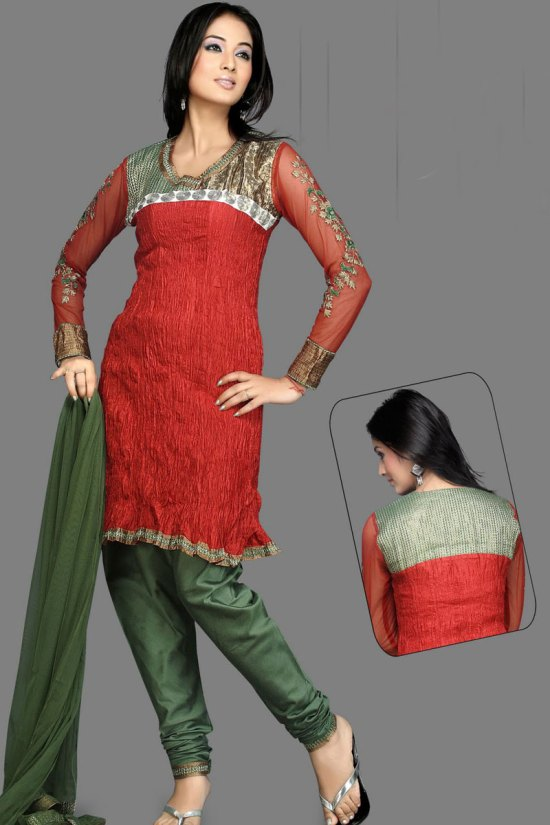Newly Arrived Unstitched Red and Green Salwar Kameez 2010