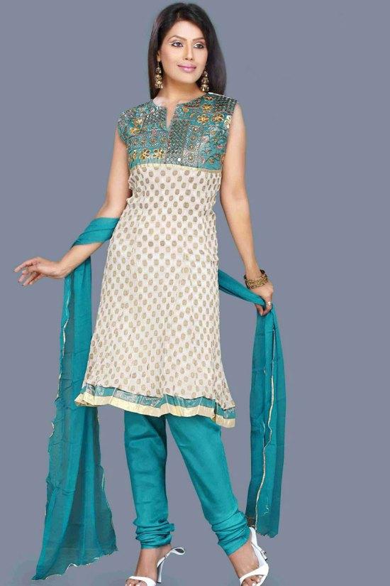 White and Blue unstitched Churidar Shalwar Kameez 2010