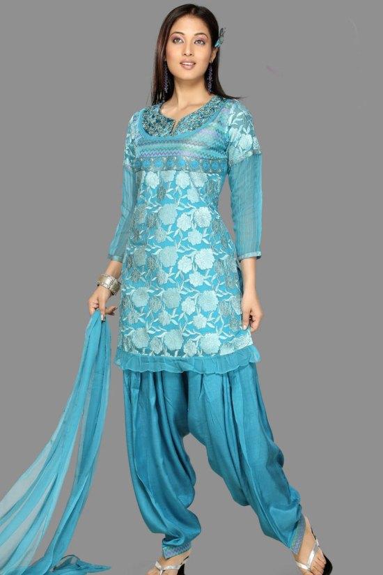 Latest Patiala Salwar Kameez in Bondi Blue Color