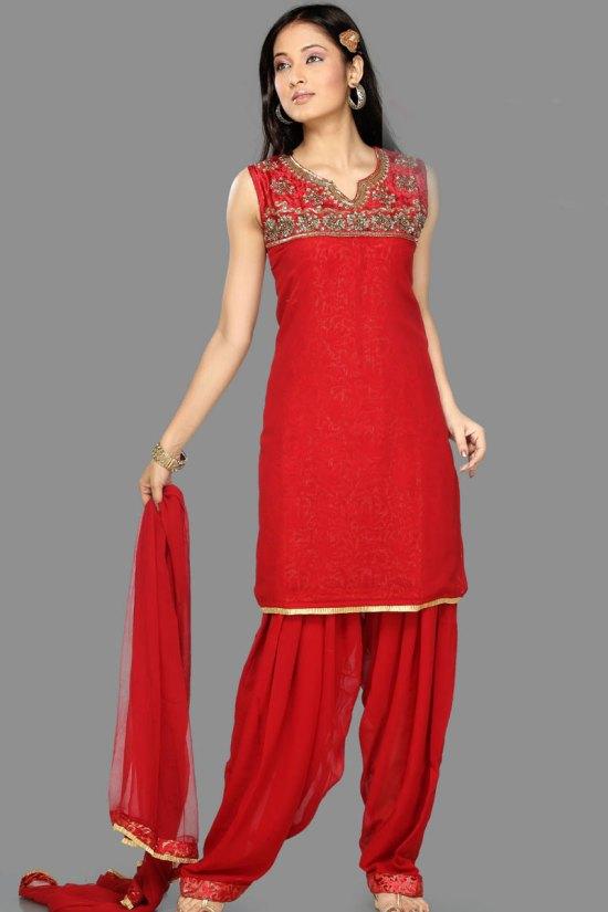 Dazzling Red Unstitched Shalwar Kameez for Party Wear