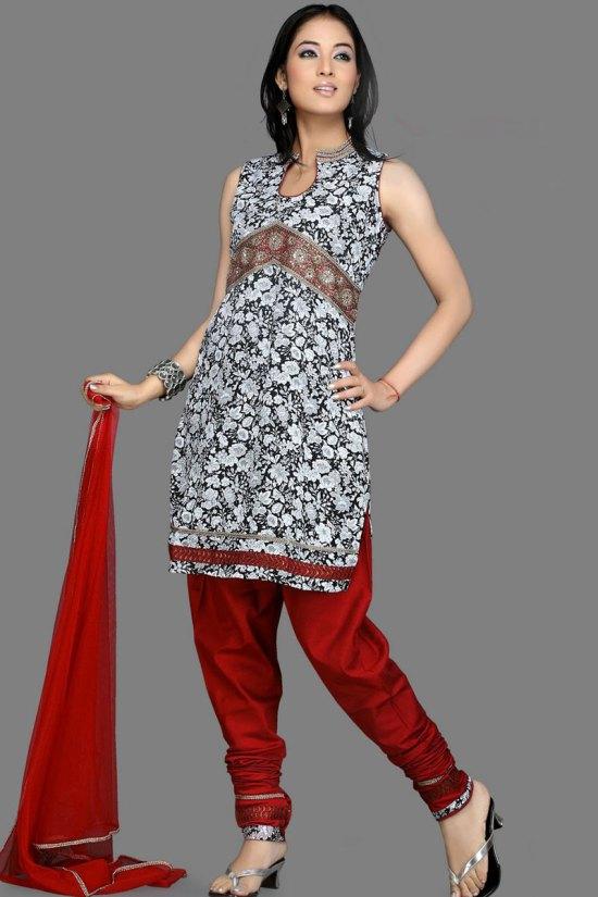 Unstitched Sleeveless Churidar Salwar Kameez 2010