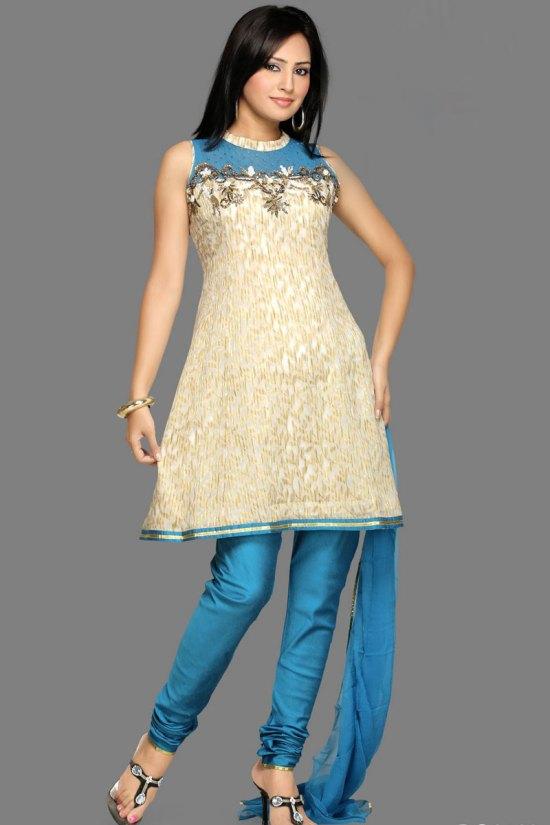 Peach Orange and Blue Unstitched Sleeveless Churidar Salwar Suit