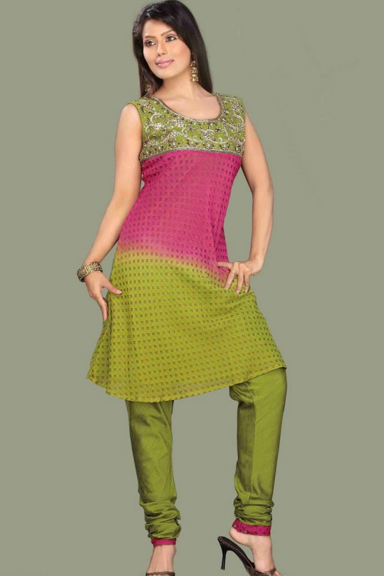 Sleeveless Churidar Shalwar Kameez in Olive Green and Red Color