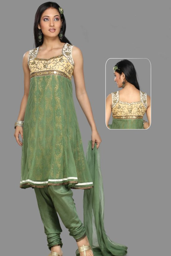 Unstitched Churidar Kameez with Heavy Neck Embroidery